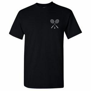 badminton logo round neck t shirt black front